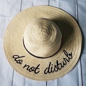 Do Not Disturb Straw Beach Floppy Hat
